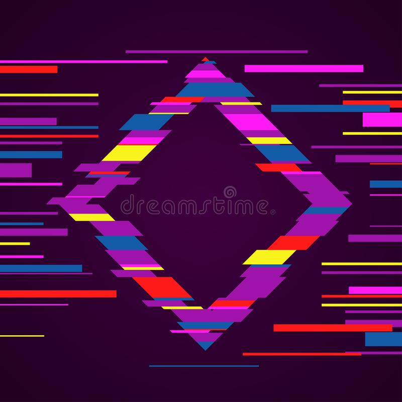 Image with glitch effect. Futuristic rhombus with glitch effect. Modern colorful template for your banner, poster, flyer design vector illustration