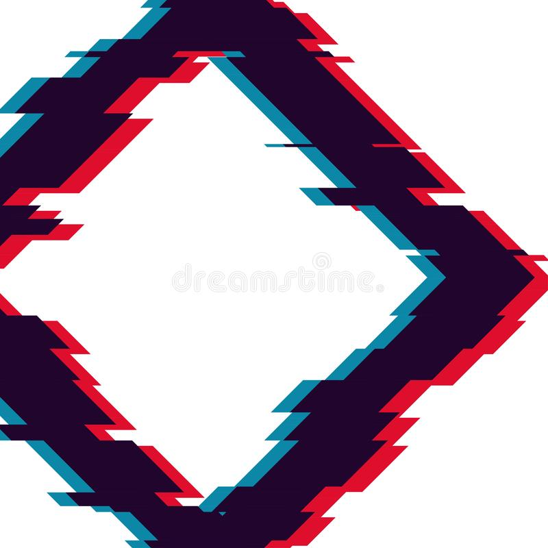 Image with glitch effect. Futuristic vector image with TV glitch effect. Trendy banner design vector illustration