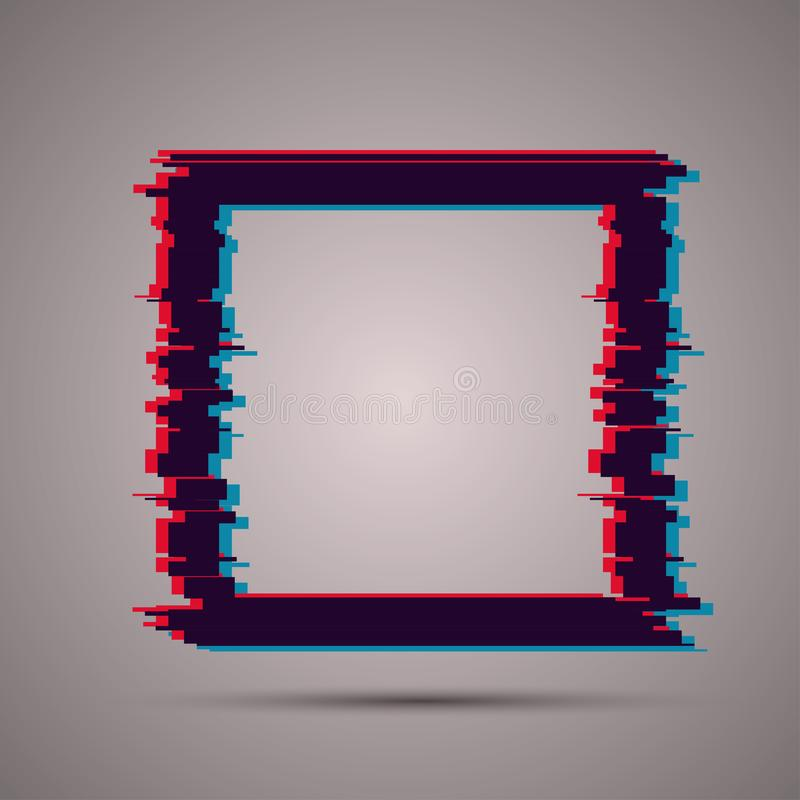 Image with glitch effect. Square shape with glitch effect. Modern vector template stock illustration