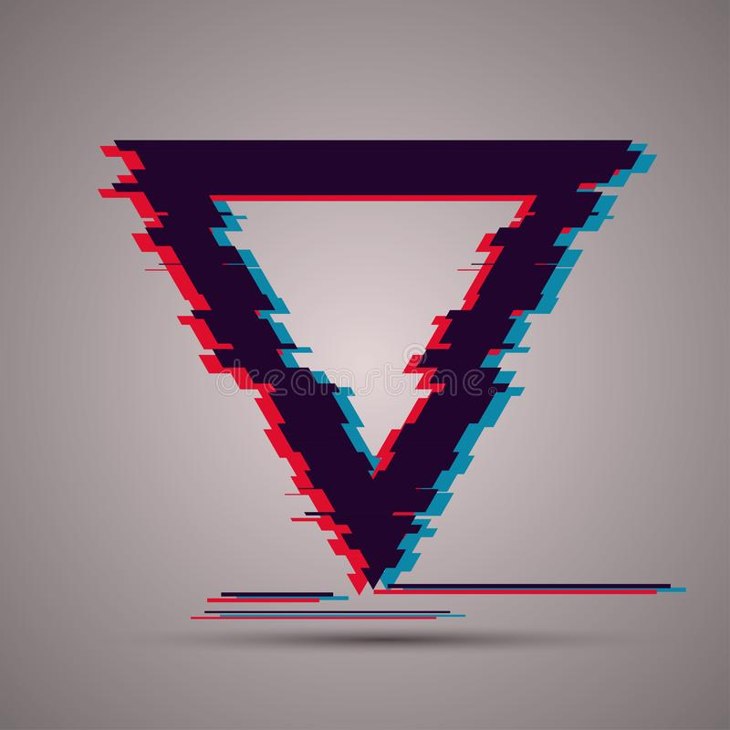 Image with glitch effect. Triangle shape with TV glitch effect for your posters, cards, templates, flyers vector illustration