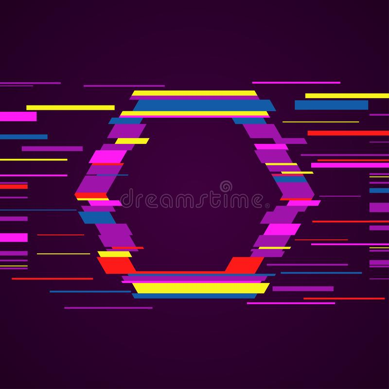 Image with glitch effect. Ultraviolet modern style hexagon vector. Trendy template with glitch effect royalty free illustration