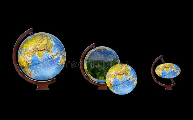 Image of a globe represented by three views vector illustration