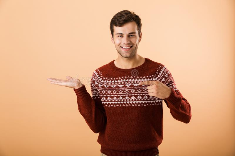 Image of good-looking man 20s with bristle wearing knitted sweat stock photo