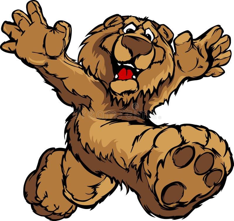 Image graphique d'une mascotte heureuse d'ours de fonctionnement illustration de vecteur