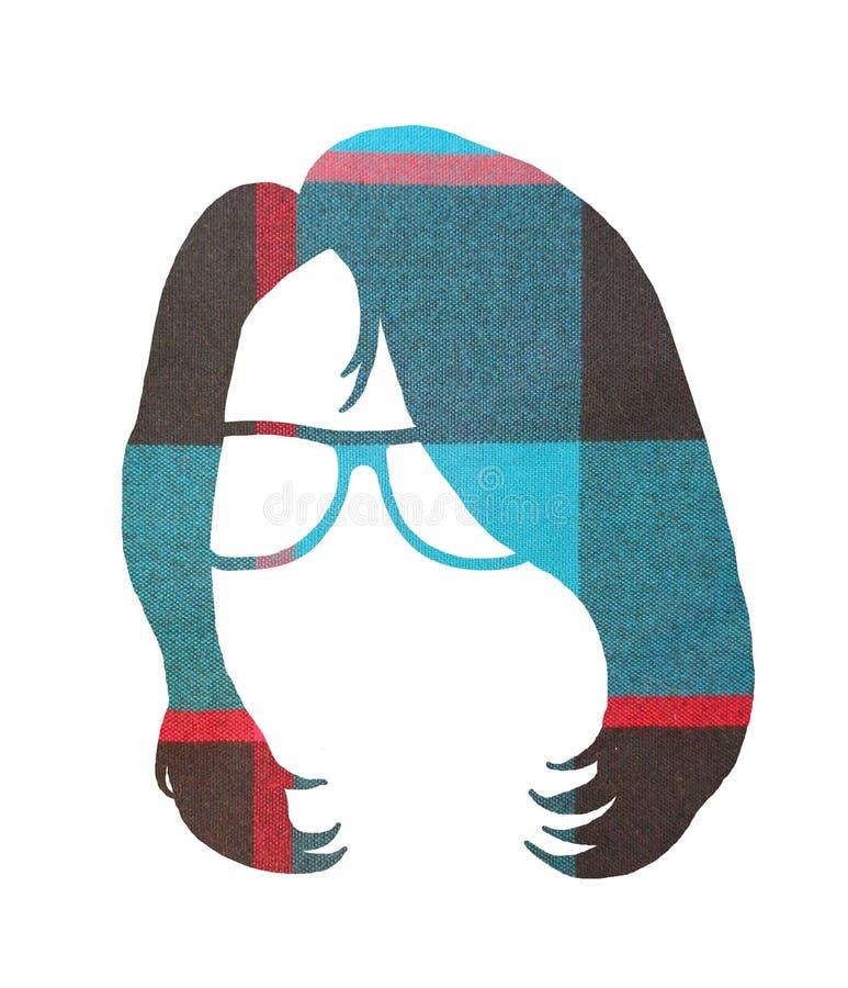 Image graphique de la tête femelle 1 de hippie de plaid image stock