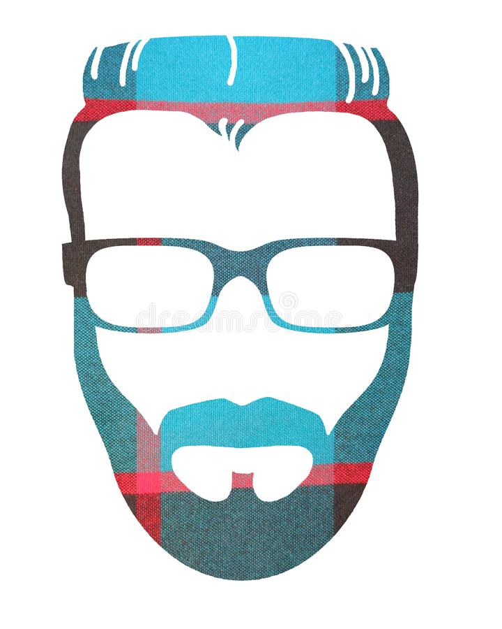 Image graphique de la tête masculine de hippie de plaid images stock