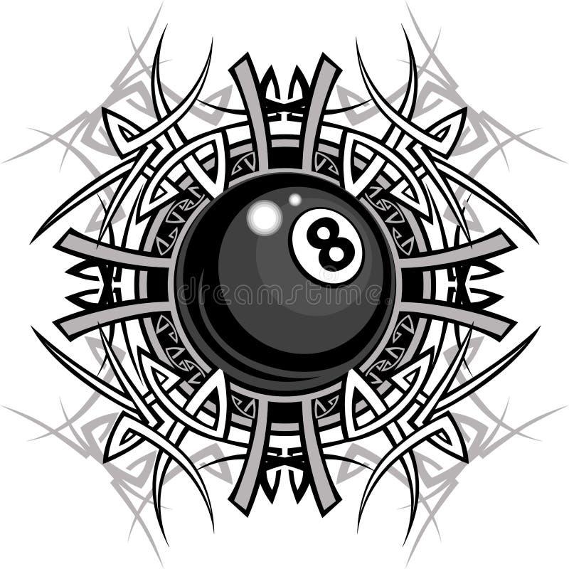 Image graphique tribale d'Eightball de billards illustration stock