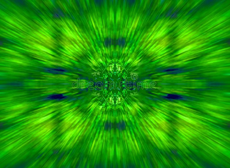 GREEN AND BLUE ZOOM WITH DETAILED CENTRE royalty free stock photo