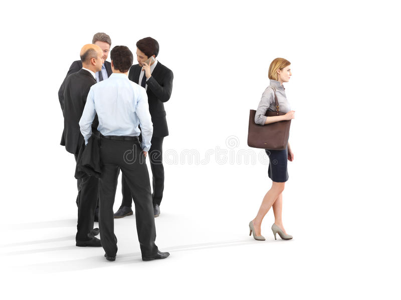 Image of a group of businessmen standing with a businesswoman walking in front. royalty free illustration