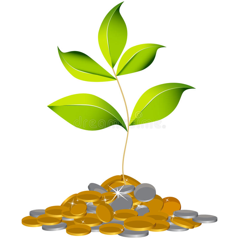 Growing Wealth Plant vector illustration