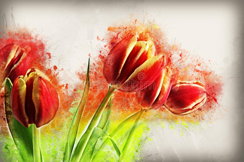 Image grunge de tulipes illustration stock