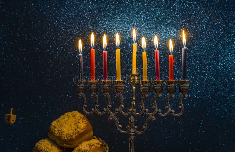 Image of the Hanukkah Jewish holiday with a menorah royalty free stock photos