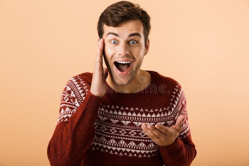 Image of happy man 20s with stubble wearing knitted sweater screaming and touching face, isolated over beige background royalty free stock photo