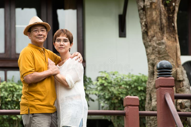 Image of happy romantic Asian senior couple outdoor in park royalty free stock photos