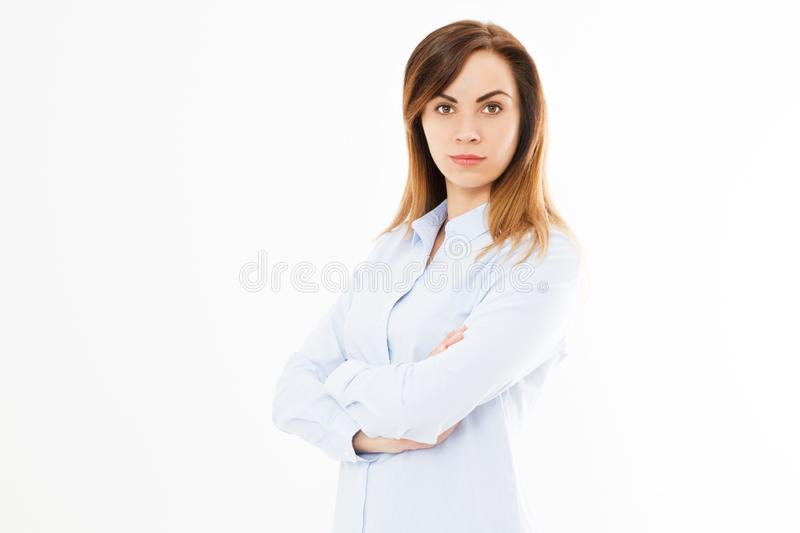 Image of happy young beautiful business woman posing isolated over white wall background. Pretty Business Woman With Arms Crossed stock images