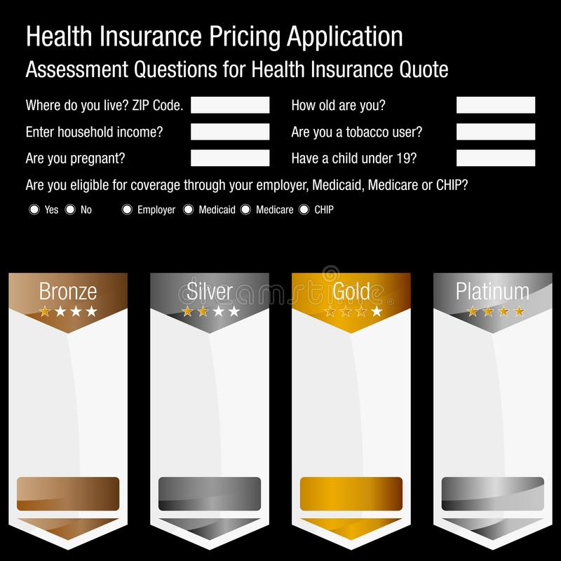Health Insurance Pricing Application Form. An image of a Health Insurance Pricing Application Form for assessing benefits and eligibility stock illustration