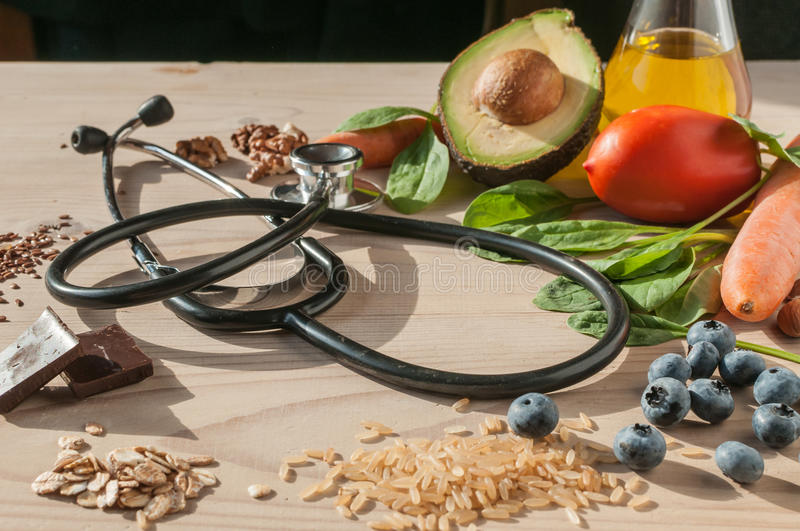 Healthy food for prevent cardiovascular diseases. An image with healthy food for prevent cardiovascular diseases royalty free stock photos