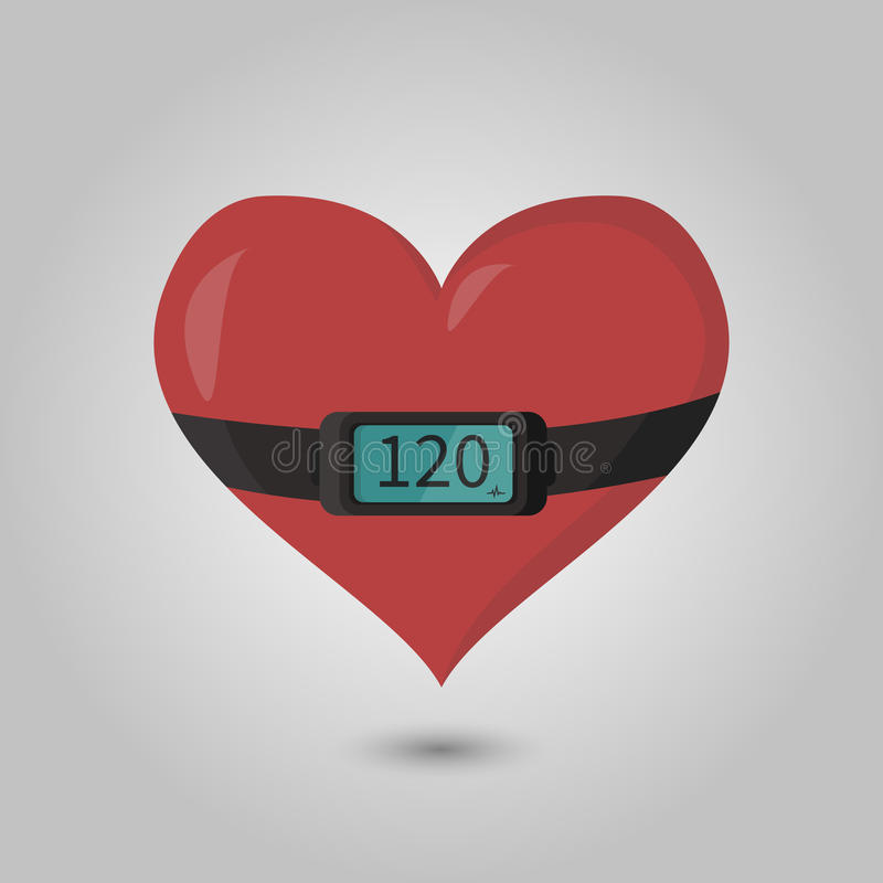 Image of the heart with the heart rate monitor on it.  stock illustration