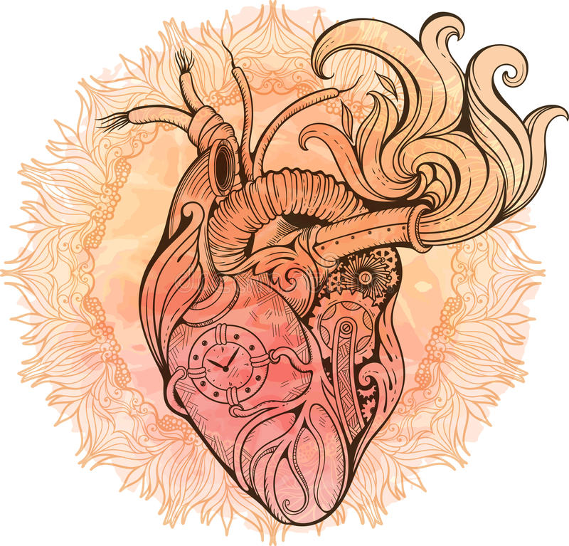 Image of heart in steampunk style. Watercolor background with fl stock photos