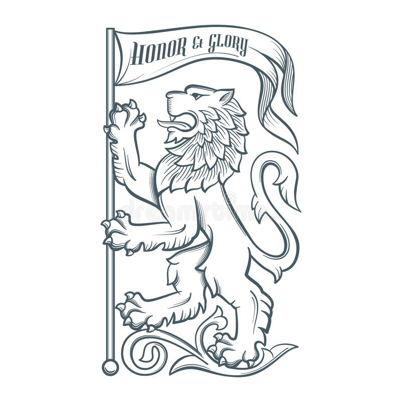 Image of the heraldic lion with flag stock illustration