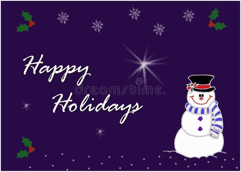 Image heureuse de carte de voeux de bonhomme de neige images stock