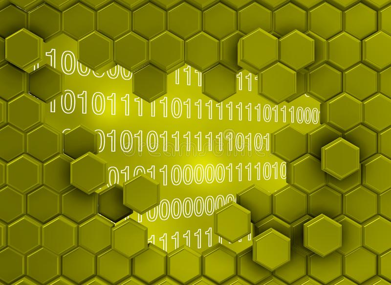 Image of hexagon wall broken by the digital era stock images
