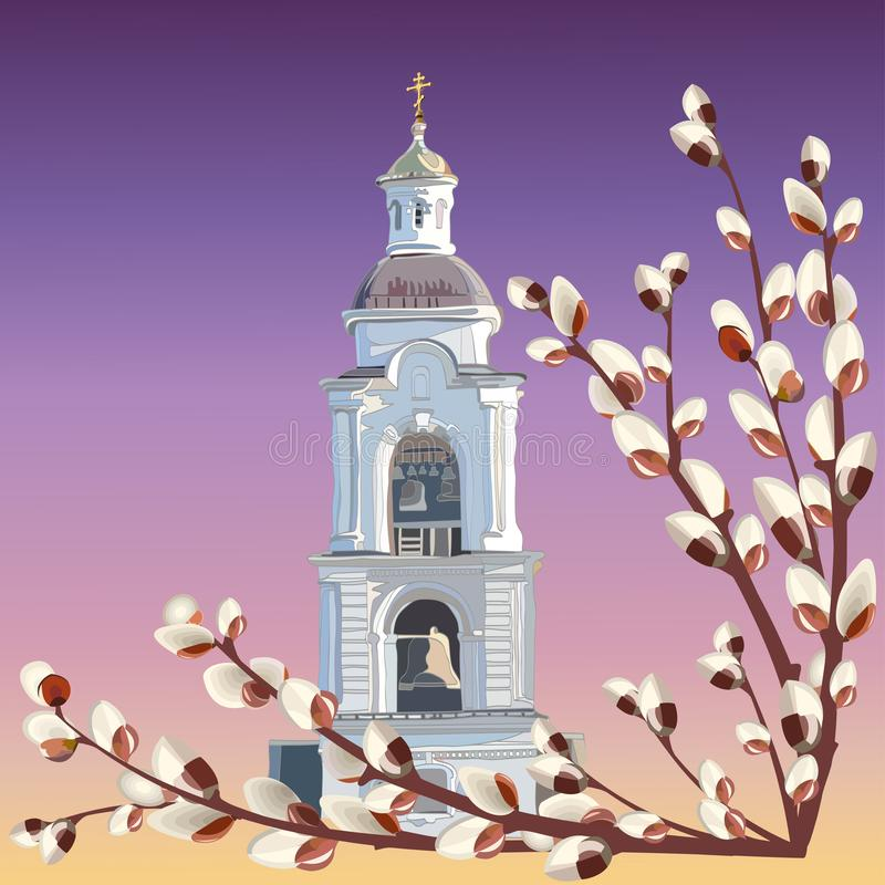 The image of a high Church bell tower and twigs of flowering willow against the evening sky vector illustration