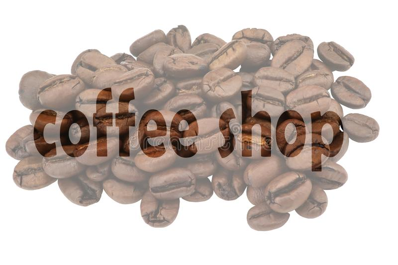 Image with highlighted text Coffee shop against pale background of coffee beans. Isolated on white royalty free illustration