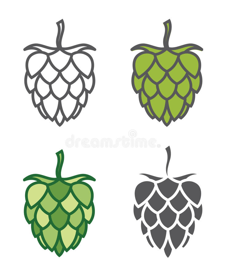 Image of hops set. Icons collection of hops for brewing stock illustration