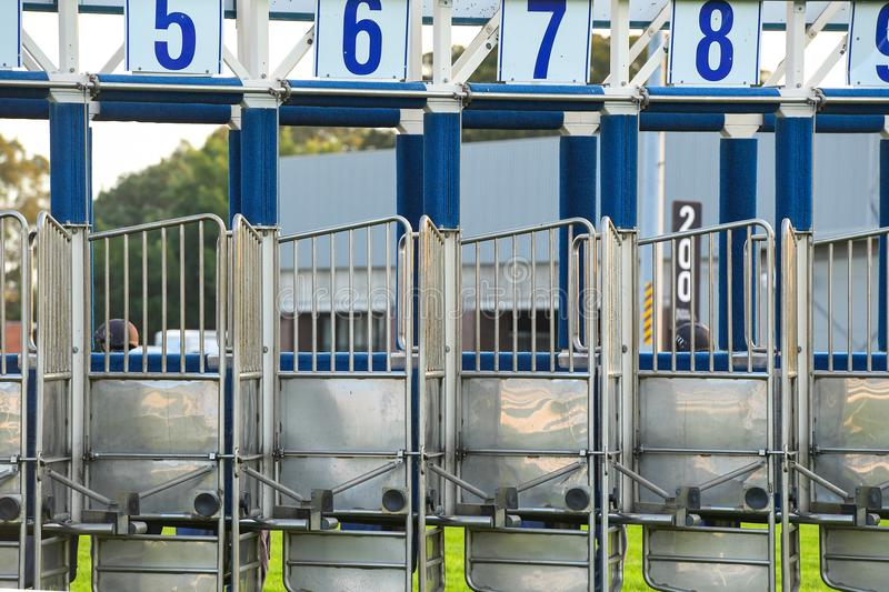 Horse racing starting gates. Image of the horse racing starting gates, barriers royalty free stock images