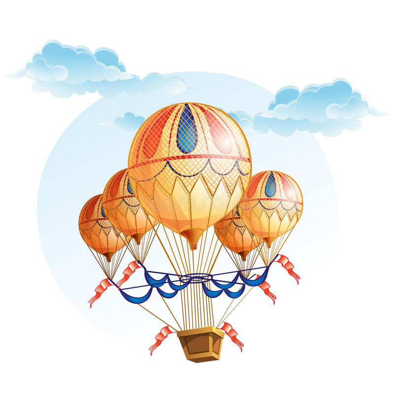 Image of a hot air balloon in the sky stock illustration