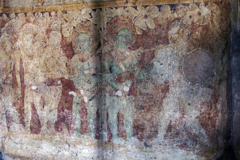 The Image House of Jetavanarama at Polonnaruwa in Sri Lanka. A painting on a wall within the Image House of Jetavanarama (monastery) built by King Parakramabahu stock images