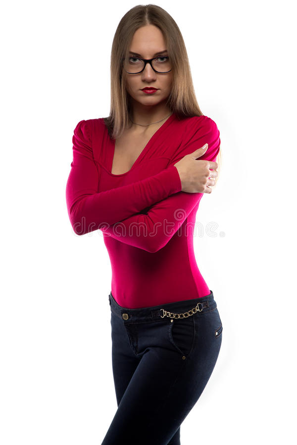 Image of hugging woman in red shirt stock image