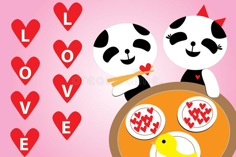 Valentines Day, Dinner Romantic love Panda 14 feb stock illustration