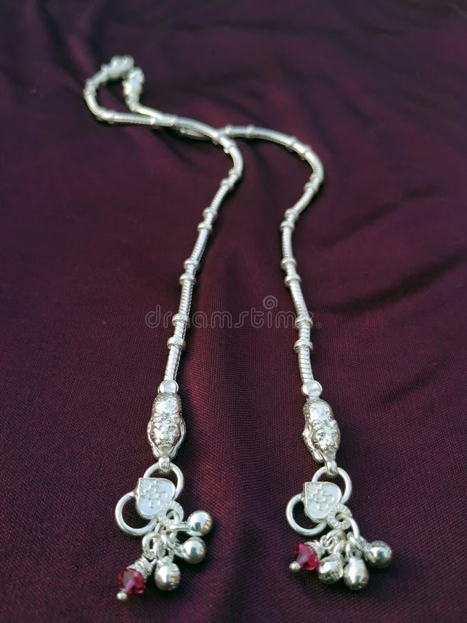 Indian traditional leg wear jewelry Payal or kandora stock image
