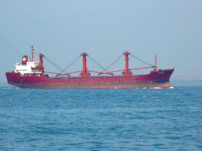 image with an industrial ship at sea stock photos