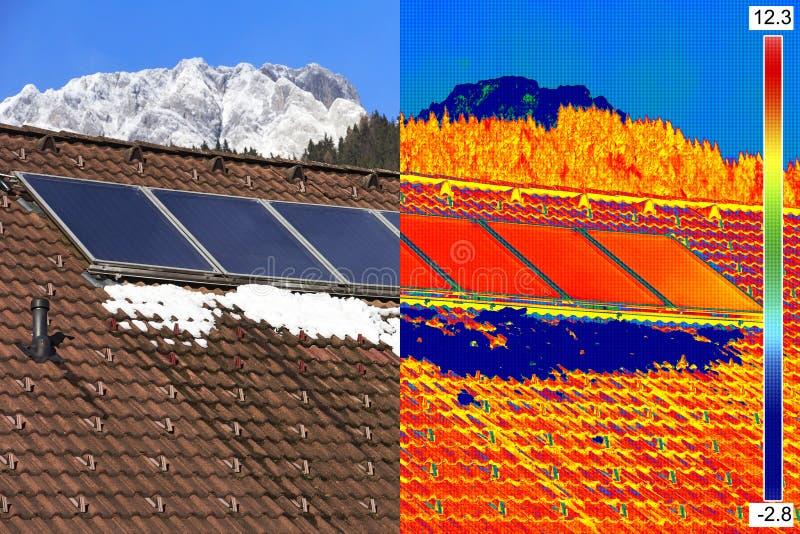 Image infrarouge et vraie des panneaux solaires photo stock