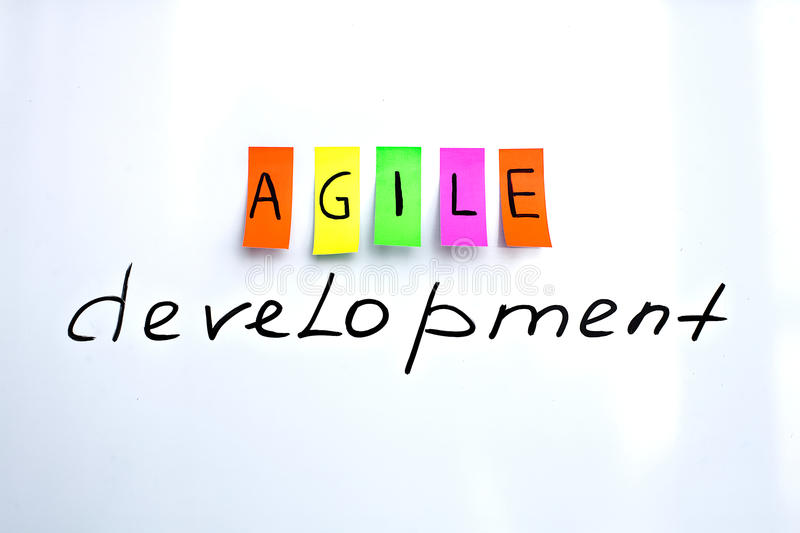 Image inscriptions of agile development. Agile methodology writing colors stickers isolated on white background of white board stock image