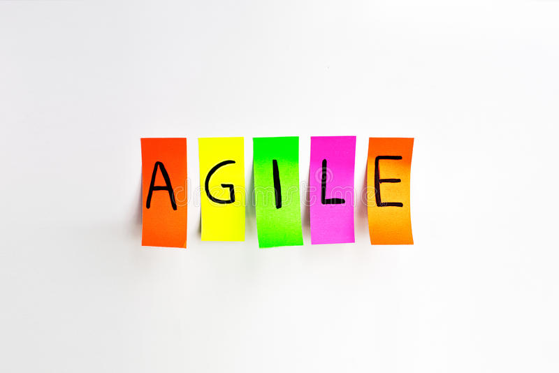 Image inscriptions of agile. Agile methodology writing colors stickers isolated on white background of white board