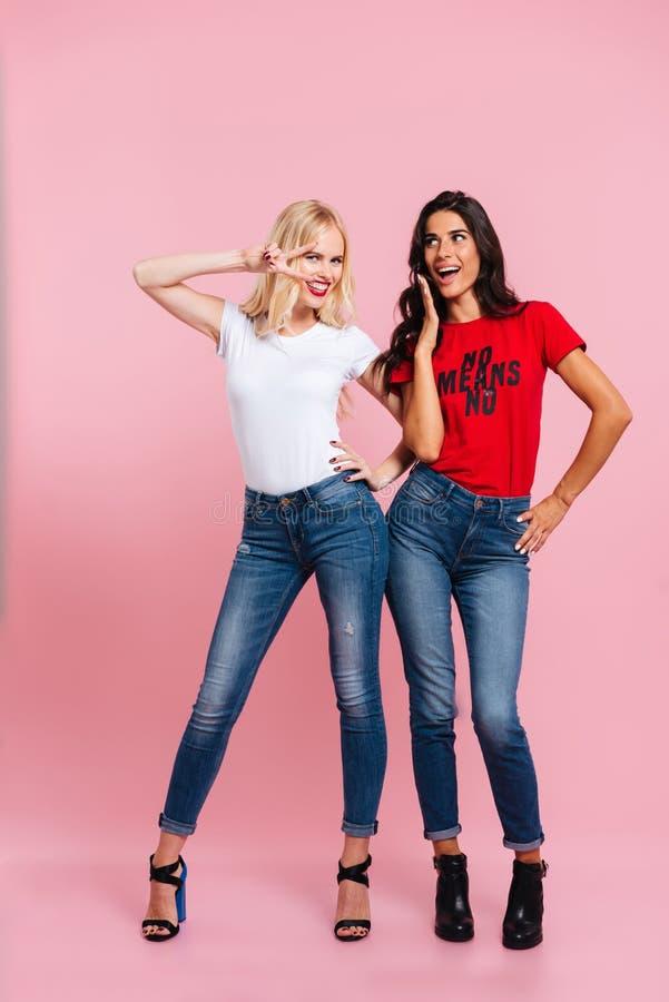 Image intégrale de deux femmes de beauté posant dans le studio photos libres de droits