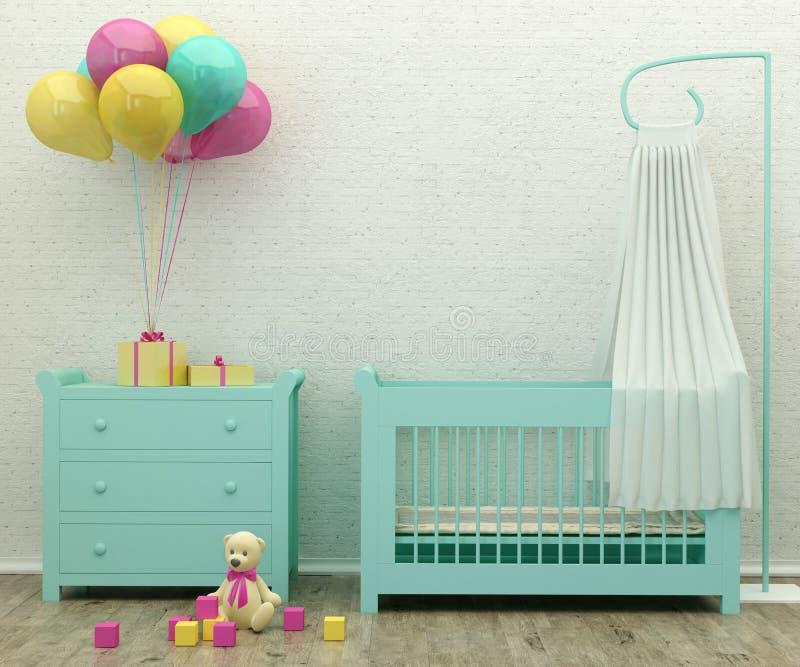 Image intérieure du rendu 3d de menthe de pièce de lit d'enfants image libre de droits