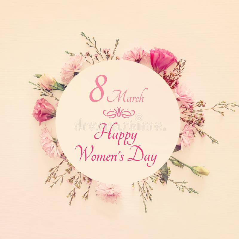 Image of International women& x27;s day concept with beautiful flowers. stock image