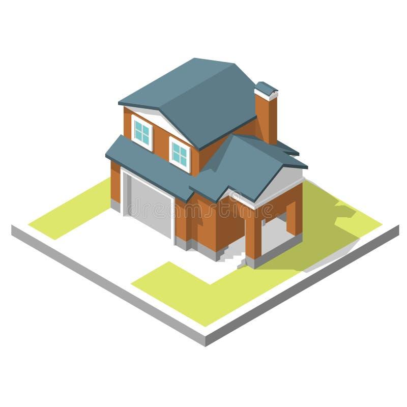 Image isométrique d'une maison privée illustration stock