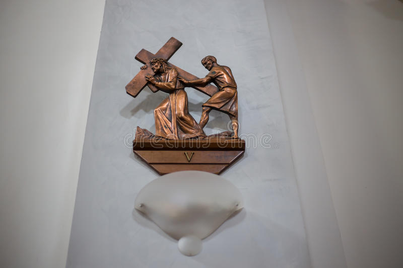 Image of Jesus carrying the cross royalty free stock photo