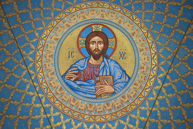 The image of Jesus Christ on the inside of the dome in the St. Nicholas naval Cathedral. Kronstadt stock photos