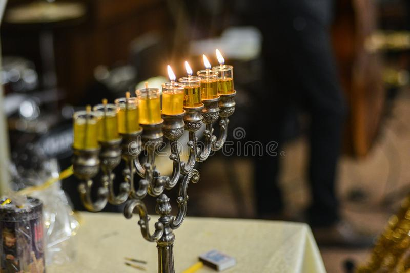 Image of jewish holiday Hanukkah background with menorah traditional candelabra stock photography