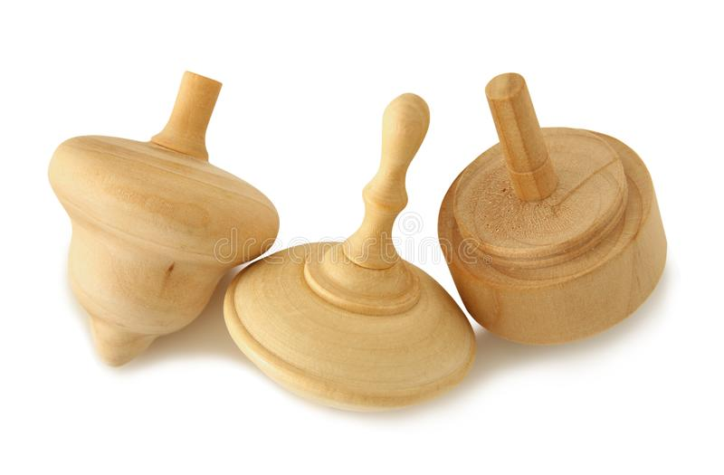 Image of jewish holiday Hanukkah symbol: wooden dreidel & x28;spinning top& x29; on white.  stock photography
