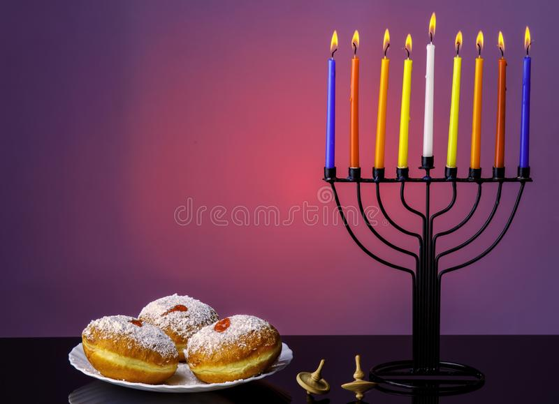 Image of jewish traditional holiday Hanukkah with menorah traditional candles. stock photography