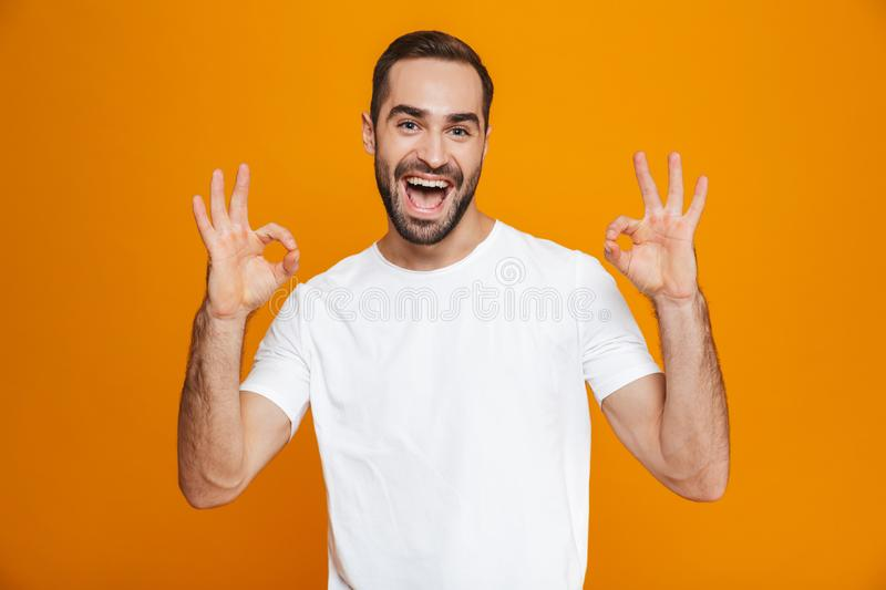 Image of joyful guy 30s with beard and mustache showing ok sign while standing, isolated over yellow background. Image of joyful guy 30s with beard and mustache stock image