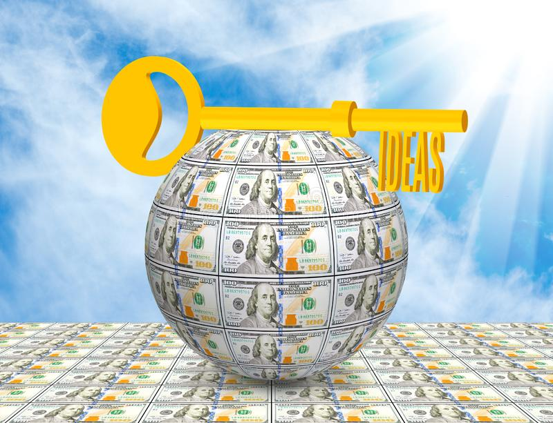Image of the key on the ball of money close-up. Symbolizes business, money, idea. Key on the ball of money close-up. Symbolizes business, money, idea royalty free stock photo